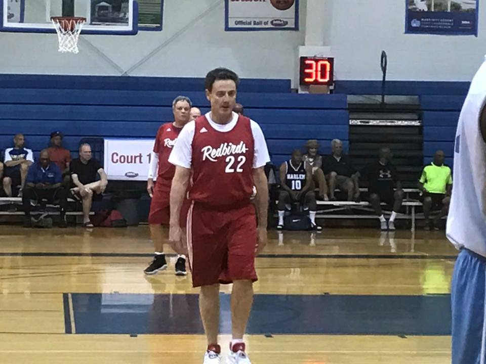 Rick Pitino in Miami's Masters Association Basketball Tournament, May 9, 2017 (photo: Chris Fischer, NBC6)